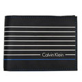 Calvin Klein 黑色條紋橡膠真皮內裡雙摺短夾