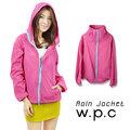 【w.p.c】戶外時尚輕量運動防水風衣外套(桃紅藍)