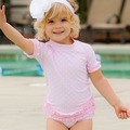 ★MerryGoAround★ RuffleButts Swimsuit: 2件組短袖上衣+泳褲泳裝套裝: 粉紅點點: RB-SS-40527