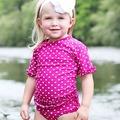 ★MerryGoAround★ RuffleButts Swimsuit: 2件組短袖上衣+泳褲泳裝套裝: 覆盆莓點點: RB-SS-40525