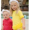 ★MerryGoAround★ RuffleButts Swimsuit: 2件組短袖上衣+泳褲泳裝套裝: 鵝黃點點: RB-SS-40526