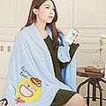 【奶油獅】台灣製造-開纖紗柔膚吸水/保暖浴巾毯-彩虹牛仔(水藍)