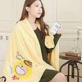 【奶油獅】台灣製造-開纖紗柔膚吸水/保暖浴巾毯-彩虹牛仔(暖黃)