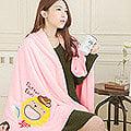 【奶油獅】台灣製造-開纖紗柔膚吸水/保暖浴巾毯-彩虹牛仔(粉紅)