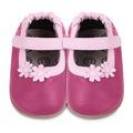 【hella 媽咪寶貝】英國 shooshoos 健康無毒真皮手工學步鞋/童鞋 桃紅兩朵小粉花童鞋 (公司貨)/適合走路平順、跑跳小童