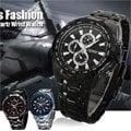 CURREN 時尚潮流款 8023豪邁霸氣仿三眼計時造型腕錶*3色