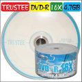 TRUSTEE DVD-R 16X / 4.7GB / 130MIN 空白光碟片 燒錄片 100片(50片裸縮2入)