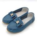 【ALicE】Y431-5 簡約休閒大蝴蝶造型真皮鞋-藍