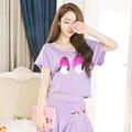 韓國妹【ean0040】 紫色大眼娃娃上衣+裙子組合。 預購