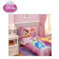 出口美國DISNEY三公主粉色漸層風格花朵印花款雙面印花單人兒童涼被/空調被~~