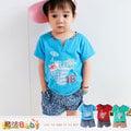 兒童套裝~百貨專櫃正品純棉短T&短褲(藍.綠.紅)~嬰幼兒服~魔法Baby~k35247
