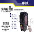 【ShangCheng】順山 KSB 1P 20A 15A 20A 30A 40A 50A 漏電斷路器兼過負載短路保護兼用 漏電開關 台灣製造 B-0220