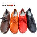 【ALicE】(預購)Y410-2 簡約素色綁帶造型真皮鞋-橘