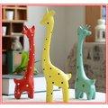FunZakka Vintage 日雜 現代簡約圓點圈手工木雕動物 紅黃綠彩繪長頸鹿 家居擺飾 婚禮櫥窗佈置 生日禮物