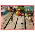 Vintage 原木日式雜貨動物木雕 紅黃色愛情小鳥可愛平衡感趣味擺飾 桌面店面質感家居裝飾佈置 情人生日禮物