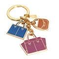 COACH 69938 藍橘紫三色金邊托特包造型串飾鑰匙圈