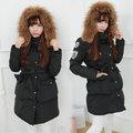 【ALicE】KMM336-9 韓雪衣保暖毛帽長羽绒棉外套-黑