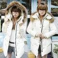 【ALicE】KMM336-8 韓雪衣保暖毛帽長羽绒棉外套-白