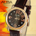 CASIO 時計屋 ALBA亞柏 AG8446X1 施華洛世奇 皮革女錶 全新 保固一年 開發票