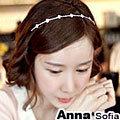 【AnnaSofia】單線菱鑽 韓式細髮箍(銀系)