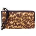 COACH 52099 咖啡棕色系渲染豹紋真皮飾邊手掛長夾