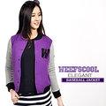 【WEEFSCOOL】MIT 潮流品味刷毛棒球外套 Elegant 女 (紫)
