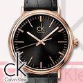CASIO 手錶專賣店國隆 CK手錶 K3W216C1 玫瑰金X黑 皮錶帶 礦物玻璃 女錶 全新品 保固一年 開發票