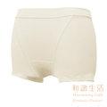 【和諧生活有機棉】仕女中腰平口內褲-原棉米白