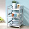 《Homelike》鋁合金1.5尺三層置物架-黑花格 收納櫃 餐櫃 置物櫃 電器架 金屬架