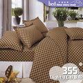 床邊故事+台灣製造Light TC舒眠布 沉穩方格[355]單人3尺/3.5尺 薄床包枕套組