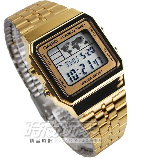 卡西歐CASIO復古風數字錶A500WGA-9全球地圖 電子錶 金色 A500WGA-9DF