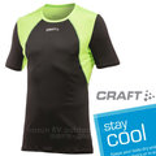 【瑞典 Craft】COOL 男款 短袖圓領排汗衣.自行車衣.T恤 .透氣 輕.吸濕.排汗/黑綠 1901381-9810