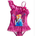 冰雪奇緣Frozen愛莎Elsa安娜Anna女童紫色公主印花拼接蕾絲裙邊單肩帶游泳裝泳衣女孩玫瑰貼花斜領泳衣