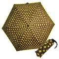 COACH 63240 深咖啡C Logo螢光綠圖繪輕量攜帶型晴雨傘