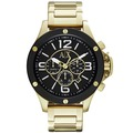 A│X Armani Exchange 卓見品味時尚都會三眼腕錶-黑x金/48mm  AX1511