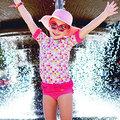 ★MerryGoAround★ RuffleButts Swimsuit: 2件組短袖上衣+泳褲泳裝套裝: 愛心圓點: RB-SS-40534