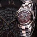 A│X Armani Exchange 晶鑽彩紋全日曆腕錶-咖啡金/38mm  AX5155