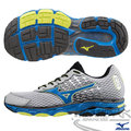MIZUNO 美津濃 WAVE INSPIRE 11 男慢跑鞋(銀灰*藍) 中低足弓跑者 2015年新款發燒貨