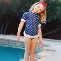 ★MerryGoAround★ RuffleButts Swimsuit: 2件組短袖上衣+泳褲泳裝套裝: 海洋藍帆船: RB-SS-40535
