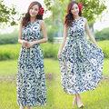 【韓國KW】KBN792-5優美巴洛克式印花長洋裝-藍