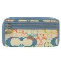 【9.99成新】COACH 經典LOGO緞面皮飾邊手提式長夾.白/藍現金價$1,980