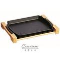 Staub 鑄鐵鍋 烤盤 長形烤盤 平底煎盤 含原木架