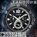 CASIO 時計屋 CITIZEN星辰 AG8335-58E 黑鋼 三眼 日 星期 24時制 男錶 全新 保固 開發票