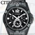 CASIO 手錶專賣店 國隆 CITIZEN星辰 AG8335-58E 黑鋼 三眼 日 星期 24時制 男錶 全新品保固