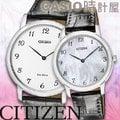 CASIO 時計屋 CITIZEN星辰情人對錶 AR1110-11B+EG6005-03D 光動能 數字 皮革對錶 全新品保固一年開發票