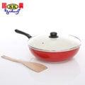 【固鋼】SGS檢驗晶紅陶瓷不沾炒鍋-32cm(可用電磁爐)
