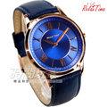 RT-58-12M RELAX TIME 經典羅馬時刻 玫瑰金電鍍/藍色真皮錶帶 男錶 送錶帶