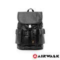 AIRWALK【禾雅】頂級黑金皮標 空降使者系列 多口袋後背包 - 超大容量 - 紳士黑
