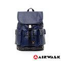 AIRWALK【禾雅】頂級黑金皮標 空降使者系列 多口袋後背包 - 超大容量 - 紳士藍