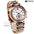 MK6282 邁可·寇斯 MICHAEL KORS 高雅秒針晶鑽腕錶 女錶 玫瑰金電鍍